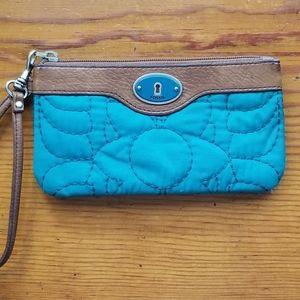 Fossil keyper wristlet wallet teal blue
